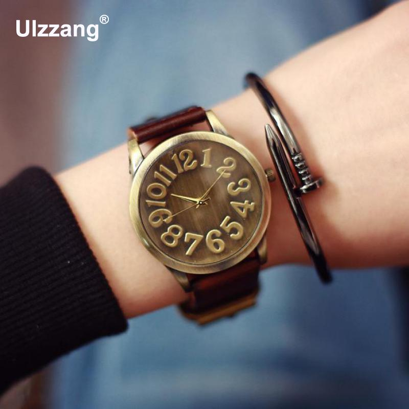 Fashion Vintage Big Number Magic Leather Strap Quartz Analog Wristwatches Watch for Women Ladies Girls Black Brown Blue fashion vintage big number magic leather strap quartz analog wristwatches watch for women ladies girls black brown blue
