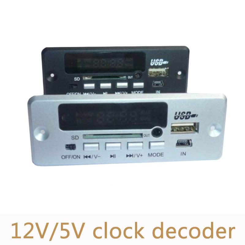 12V/5V Bluetooth MP3 Decoder Board USB sound card Bluetooth calling DIY decoding Module clock with remote control MD03