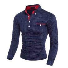 Горячая зима осень британский черный темно-синий Мода волна точка Печатный длинный рукав Мужская Повседневная рубашка поло мужская