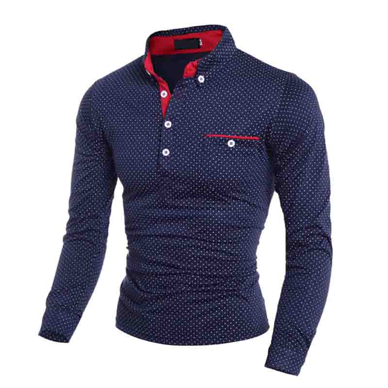 HOT 2019 winter Autumn British black Navy fashion wave point Printed long sleeve men Men's casual   POLO   shirt Men