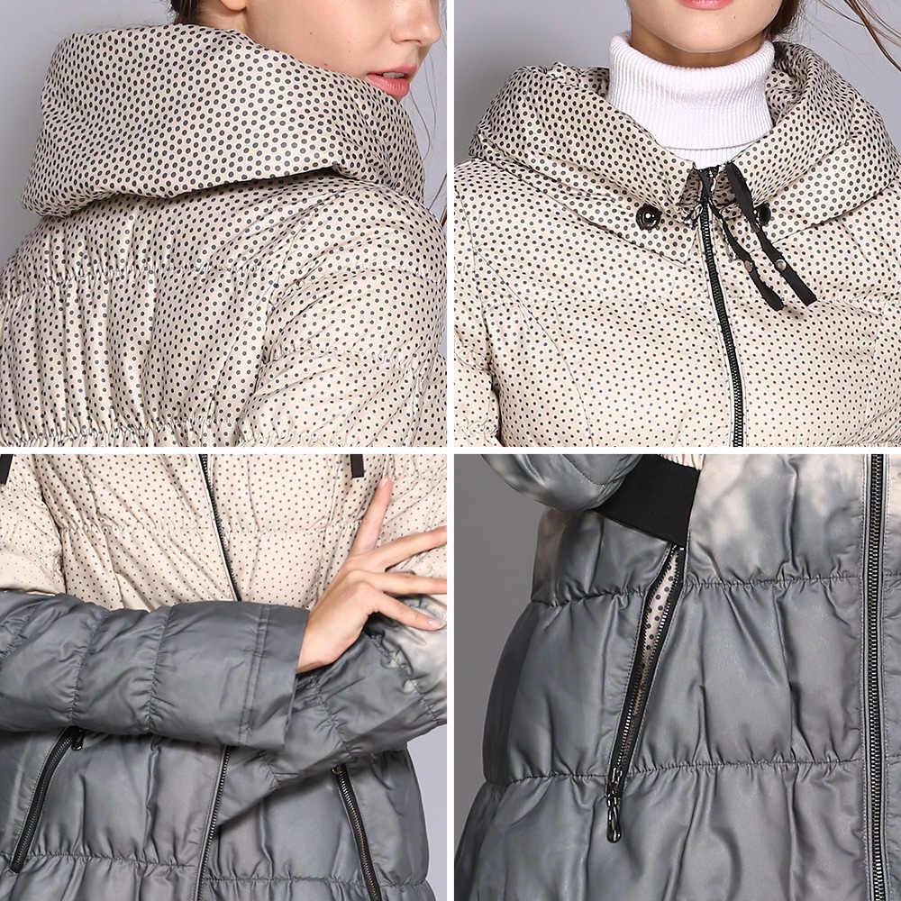 COUTUDI 2018 冬ダウンコート女性パーカー女性ロング入りジャケットダウンパーカーヒットカラーの高品質女性の服