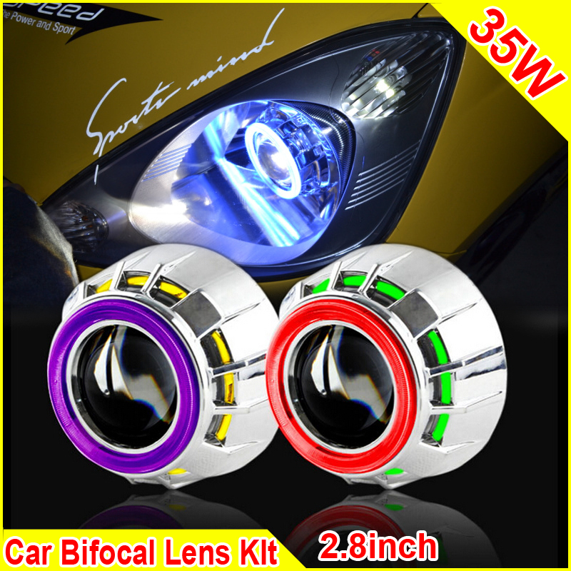 2pcs 2.8 Inch 35W Car H1 H4 H7 Bi Xenon Headlight HID Projector Lens Kit E46 E39 E90 Projector Headlights CCFL Angel Eyes royalin car styling hid h1 bi xenon headlight projector lens 3 0 inch full metal w 360 devil eyes red blue for h4 h7 auto light