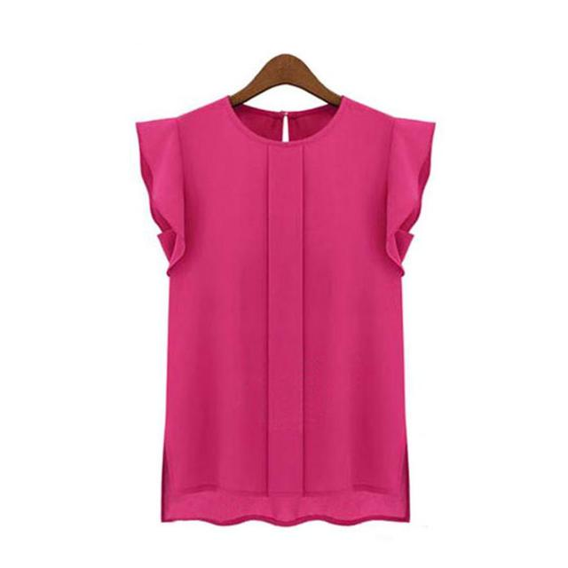 Womens Casual Loose Chiffon Short Tulip Sleeve Shirt Tops Vintage Blouse Shirt Blusas Ladies Fashion Tops Chiffon Office #QO9850