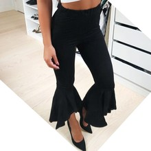 Fashion Asymmetric Frill Hem Ruffle Trousers Women Bottom Flare Pants White Black High Waist Slim Pants Capris недорого