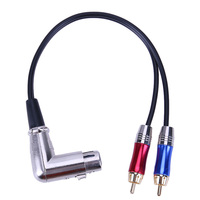 Metal Connector Audio Adapter Cable 3 Pin XLR Female To 2 RCA Male 90 Degree PVC