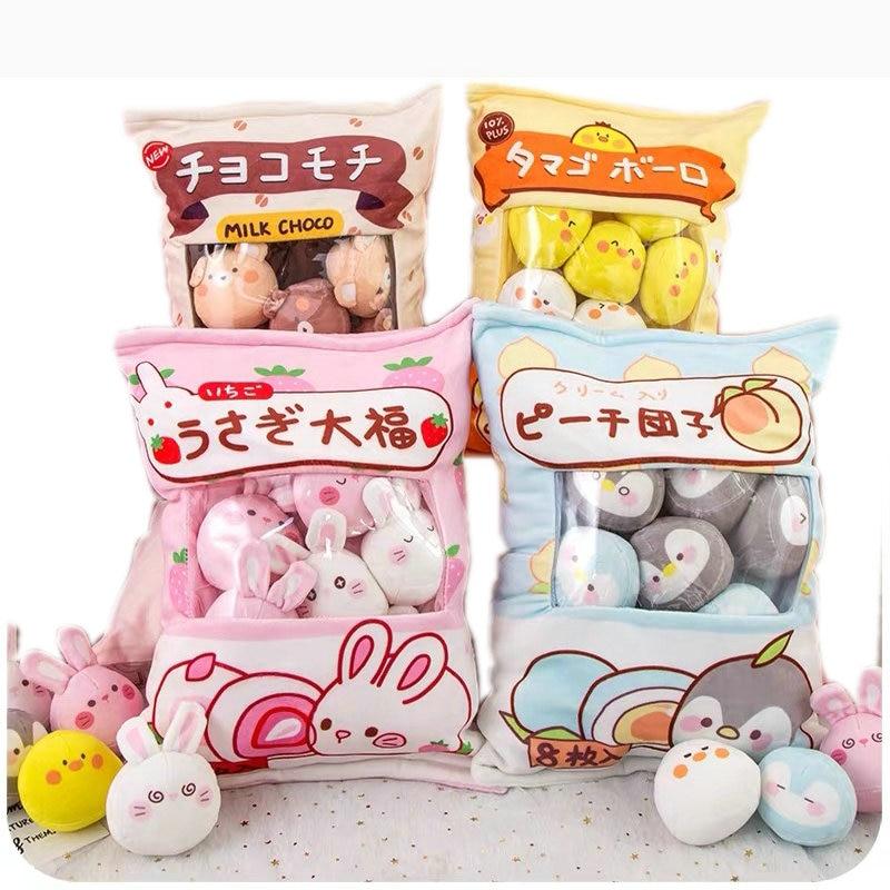 4 Or 8pcs Mini Penguin Stuffed Plush Toys In A Bag Pillow Brown Bear Eggs Pudding Snacks Throw Pillow Creative Message Pillow
