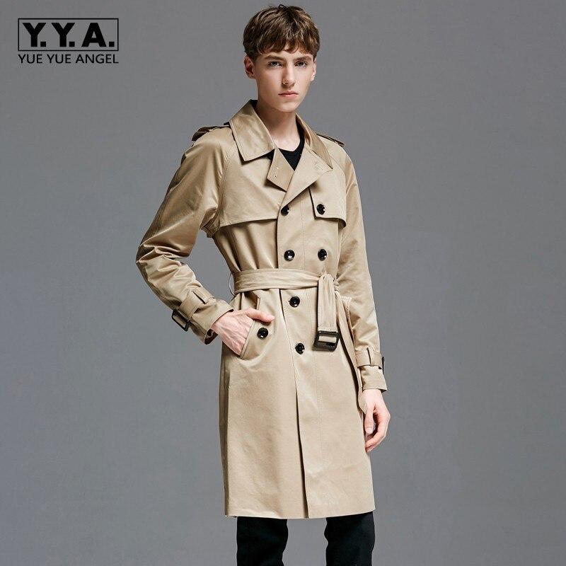 Англия Стиль Мужская мода Хаки пальто с поясом Военная Униформа средней длины пальто плюс размеры 6XL двубортный бизнес ветровка Тренч