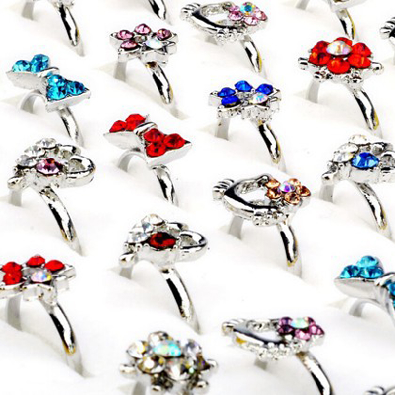 Wholesale Mix 30pcs Wholesale Jewelry Lots Mixed Lots Crystal Rhinestone Kid Children Rings