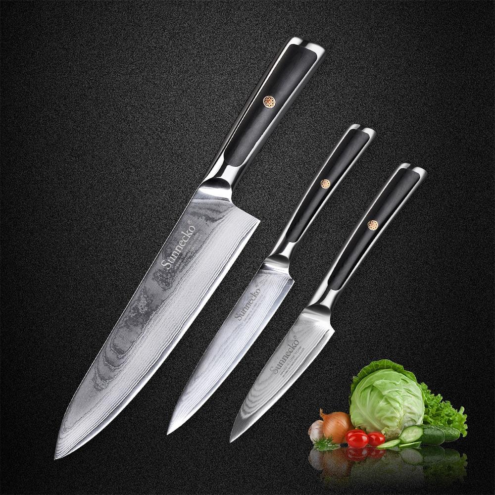 SUNNECKO 3 pz Set di Coltelli Da Cucina Chef Utility Coltello da cucina Giapponese VG10 di Damasco Acciaio Inox Razor Sharp Utensili Da Taglio G10 Maniglia