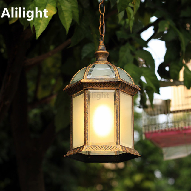 American Modern Brief Fashion Chinese Style Waterproof Outdoor Pendant Lamp  Balcony Corridor Chain Glass Porch Light