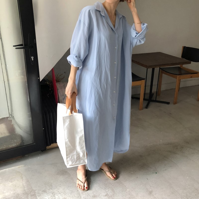 Blue Long Sleeve Long Shirt Dress Spring Casual Patchwork White cotton Dresses Collar Buttons Loose Dresses Robe Femme Vestido 6