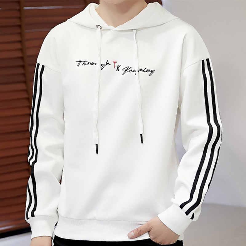 Боковая полоса Для мужчин пот удобные вышивка с капюшоном мужская толстовки в уличном стиле белого и розового цвета Черный, серый цвет Для мужчин пот