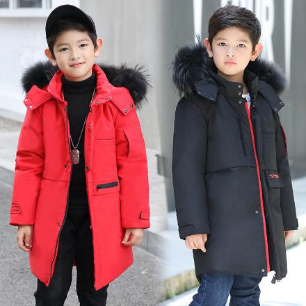 Boys Winter Jacket Children Duck Down Coat Kids Long Fur Collar Parka Boy Hooded Thicken Outerwear Snow Wear Costumes цена