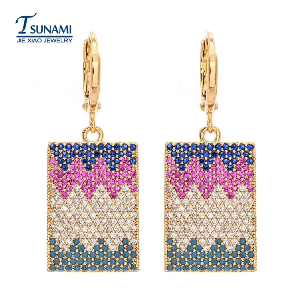 The top quality of the long square shape of the zircon earrings Suitable for women/girls for all kinds of jewelry earrings ER138