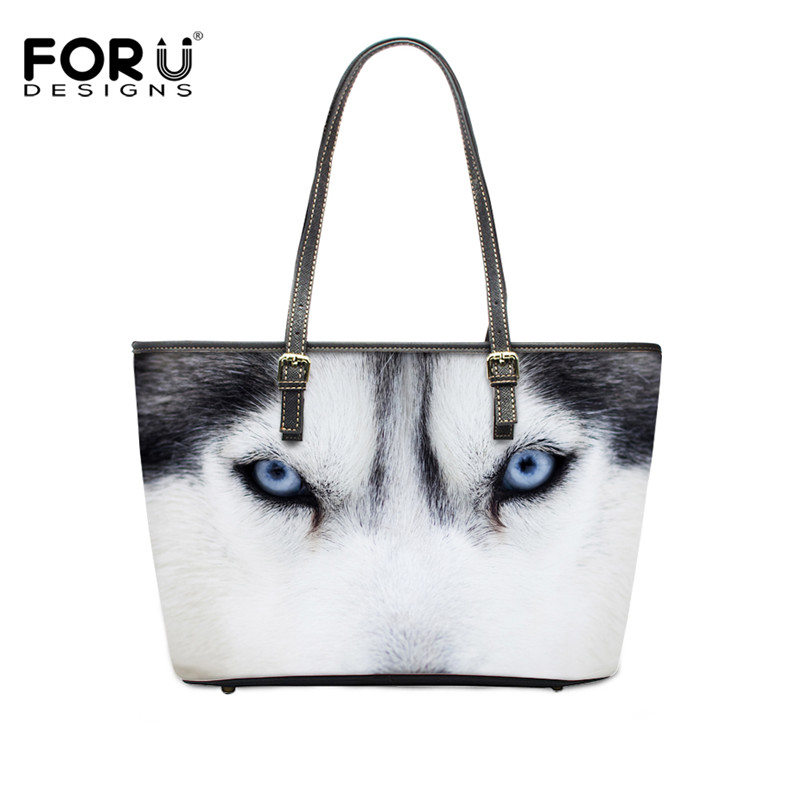 FORUDESIGNS 3D Wolf Dog Women Shoulder Bag Large Capacity Woman Handbags Waterproof Pu Leather Female Tote Bags Ladies Messenger forudesigns casual women handbags peacock feather printed shopping bag large capacity ladies handbags vintage bolsa feminina