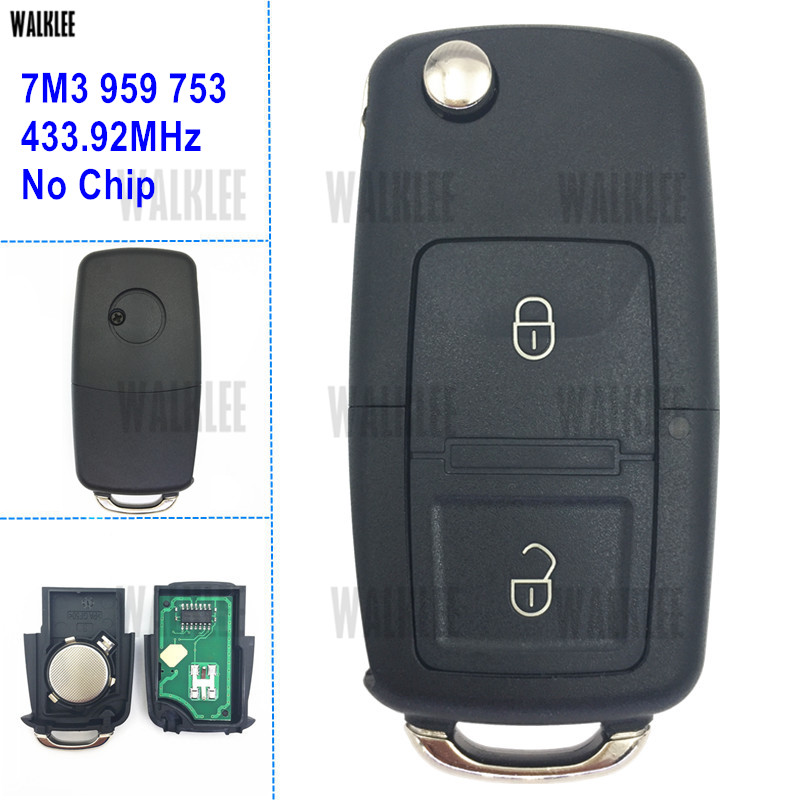 WALKLEE 433.92 MHz Chiave A Distanza 7M3 959 753 per SEAT Alhambra 7M3959753 senza Circuito Integrato Keyless Entry Trasmettitore