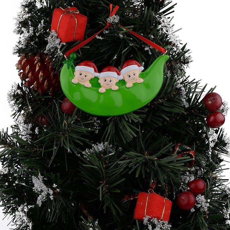 Resina Peapod Familia de 3 adornos navideños Regalos personalizados - Para fiestas y celebraciones - foto 2