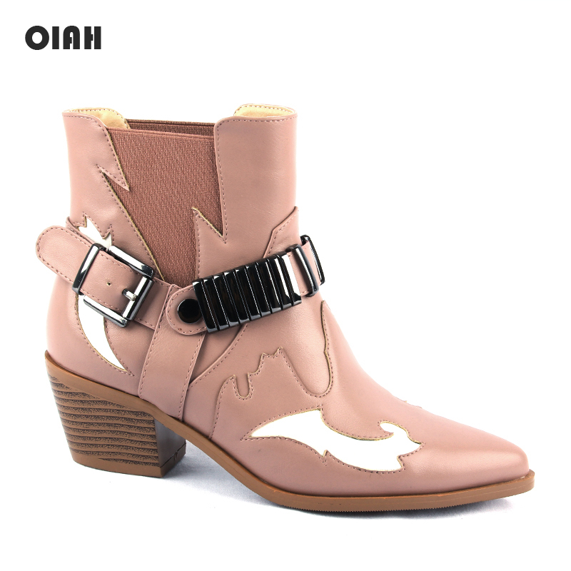 2019 Cowboy Boots For Women Pointed Toe Western Boots Pink PU Leather Ankle Women Boots Block Wedges Boots Autumn Winter botas