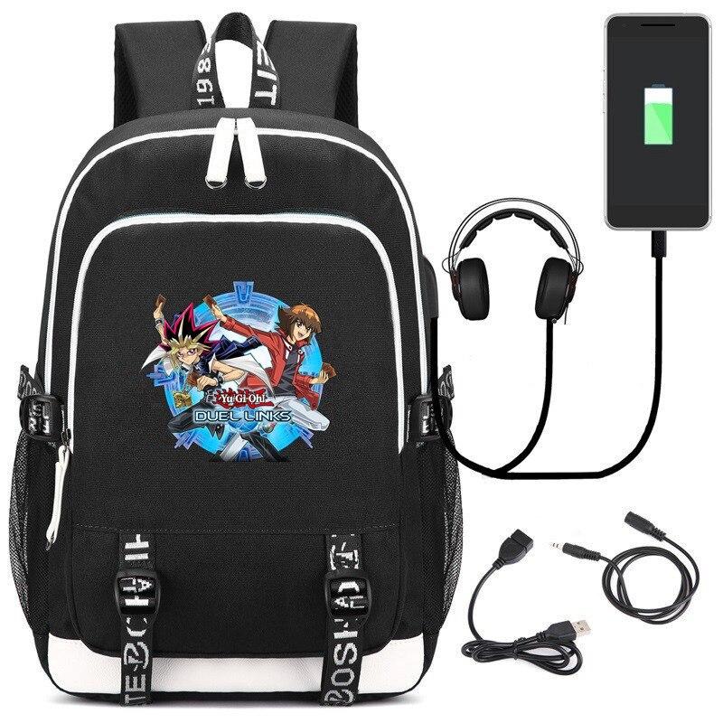 Anime Spel Yu-gi-oh! Duel Links Laptop Usb Rugzak Kids Tieners Student Schooltassen Boekentas Unisex Gamer Schouder Reistassen