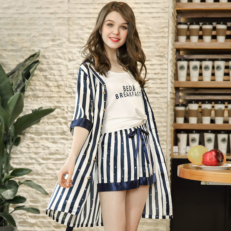 Pajamas 2018 Autumn Fashion Sleepwear Young Women New Robe Camisole and  Shorts 3 pcs Summer Cozy Faux Silk Home Clothing STZ608-in Pajama Sets from  ... ad803584f
