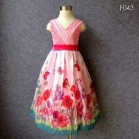 Big Size Countryside Style Girls Summer Dress Butterfly Print Red Bow Tulle Party Dress High End