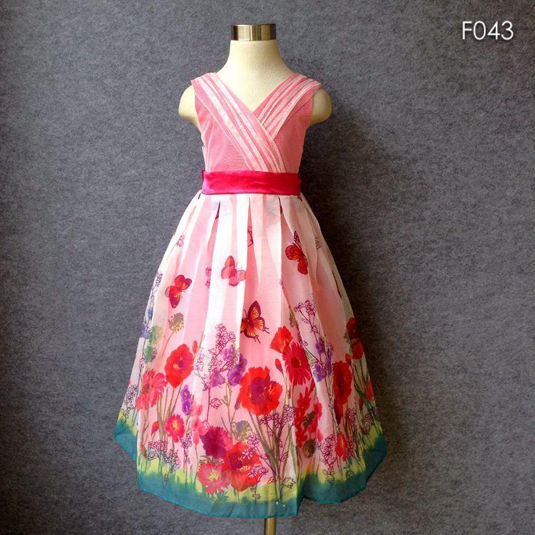 Tamaño grande estilo campo Niñas verano mariposa vestido estampado ...