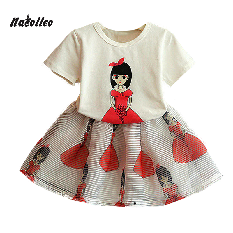 Girls Clothing Set New 2 Pcs Summer Little Girl Cartoon Print Short+Mini Skirt Sets Children Fashion Cotton Sets Clothes azel elegant latest new child dress for 2 3 year old girls vestidos fashion summer kid clothing little girls daily clothes 2017