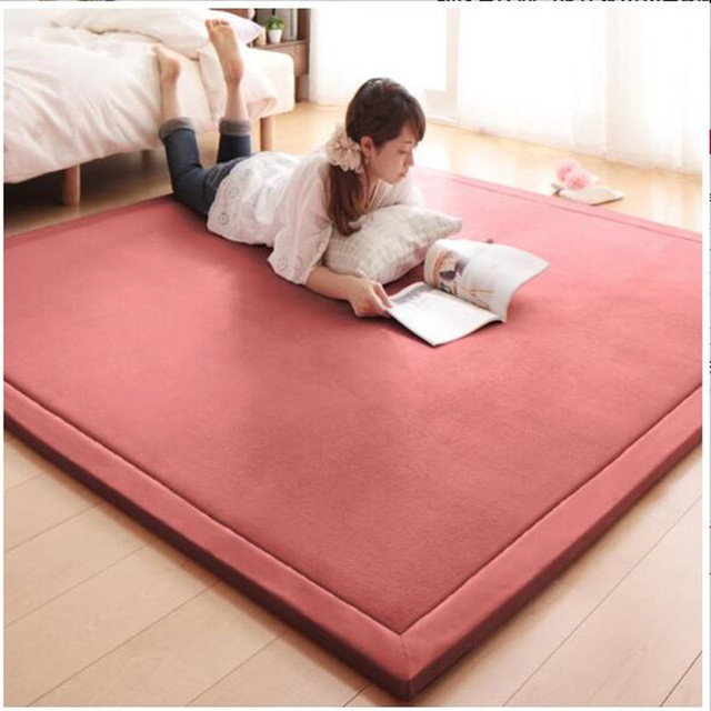 Modern minimalist coral suede carpet tatami bed mat bedroom living ...