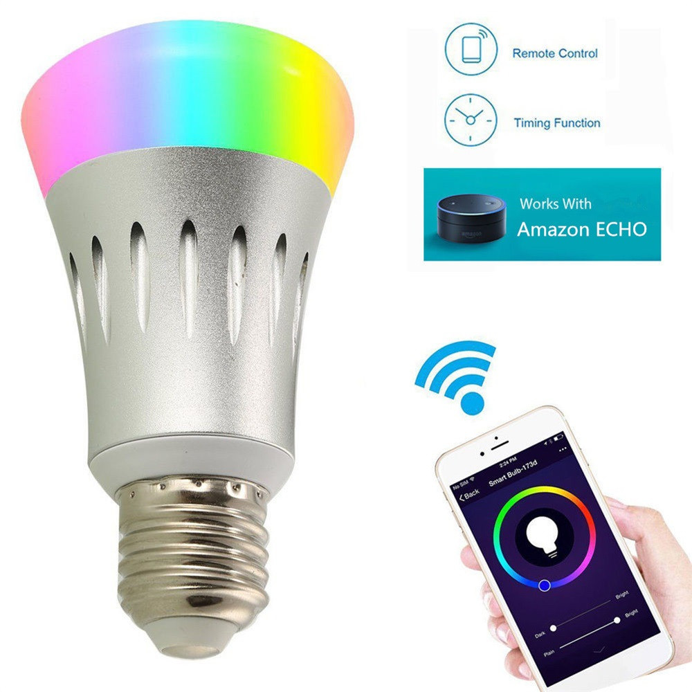 HAMBODER E27 7W RGB Smart WiFi Bulb Color Changing Smart LED Light Dimmable Multicolored Drop Shipping wifi rgb led lamp bulb dimmable e26 rgb color light for smart home support for alexa and google home