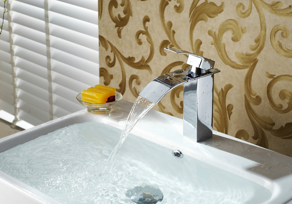 Basin Faucet Waterfall Bathroom Faucet Vessel Sinks Mixer Tap Cold ...