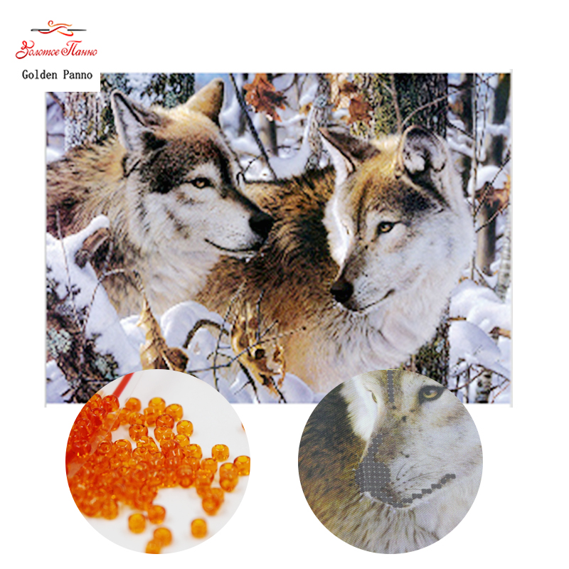 Golden Panno,beads,Needlework,DIY,bead Cross Stitch ,Embroidery Stitch,Precise Printed Painting,animal Pattern Cross,wolf