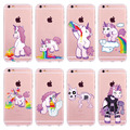 New bonito rainbow unicorn case para iphone 5 5s se 6 6 s 7 7 plus 6 mais vomitar unicórnios cavalo coque capa fundas gel tpu macio Capa