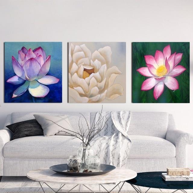 4 6 50 De Réduction 3d Blanc Lotus Définition Toile Art Print Affiche De Peinture Mur Photos Pour Salon Décoratifs Pour La Maison Chambre Décor No