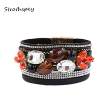 Handmade Beads Crystal Bracelet For Women Vintage Magnetic Leather Bracelets Rhinestone Statement Bangle Jewelry