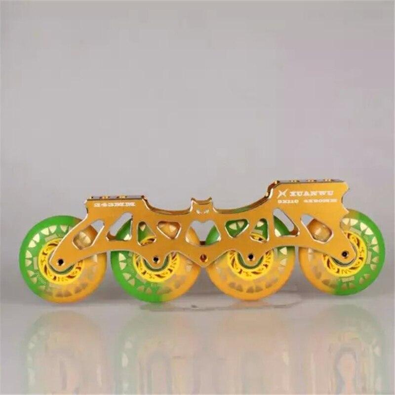 Prix pour Double-couleur Inline Skate Roues avec Multi-utiliser Inline Patins Cadre 4X80mm Roller Base pour SEBA pour Powerslide Chaussures Patin