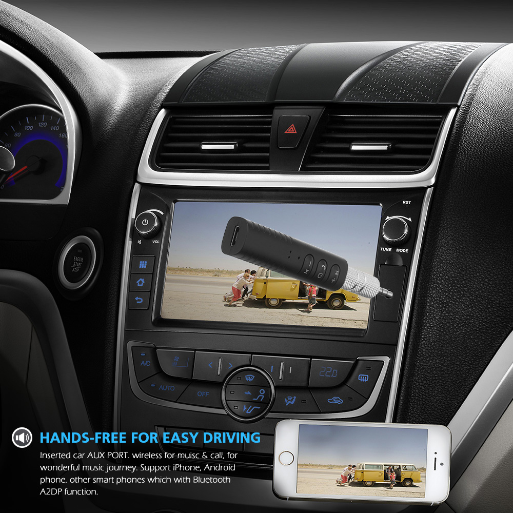 Mini Wireless Bluetooth Car Kit Hands free Bluetooth Jack Audio jack Receiver Adapter Bluetooth black 1