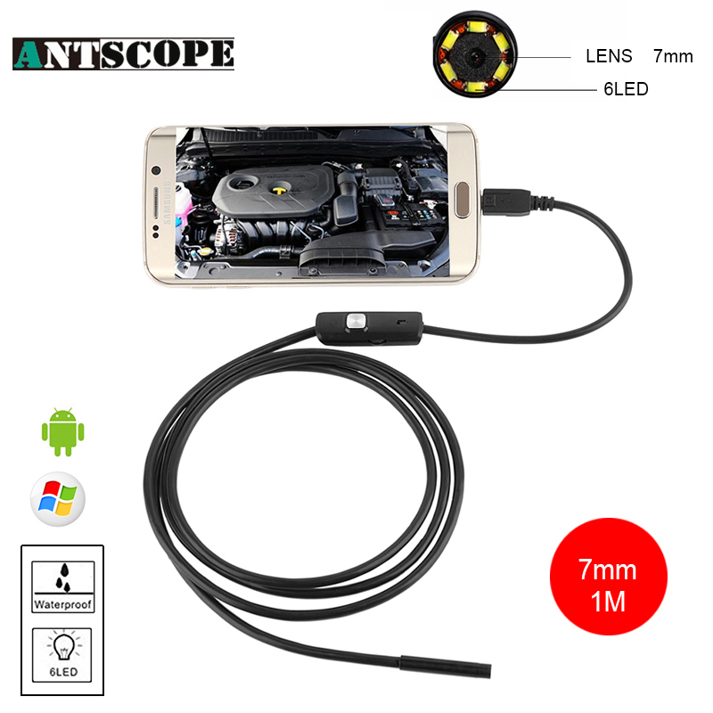 Antscope Endoskop 7mm Android USB Endoscope Borescope Endosopio Inspection Pipe Endoscope for Android Phone OTG IP67 Camera mini camera endoscope 2in1 android usb camera 2m 5m 8mm hd tube pipe waterproof phone pc usb endoskop inspection borescope otg