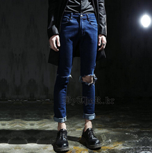 Free Shipping !!! 2015 Spring autumn New Broken knee hole jeans pants tide male beggar solid Slim pants / M-XXL