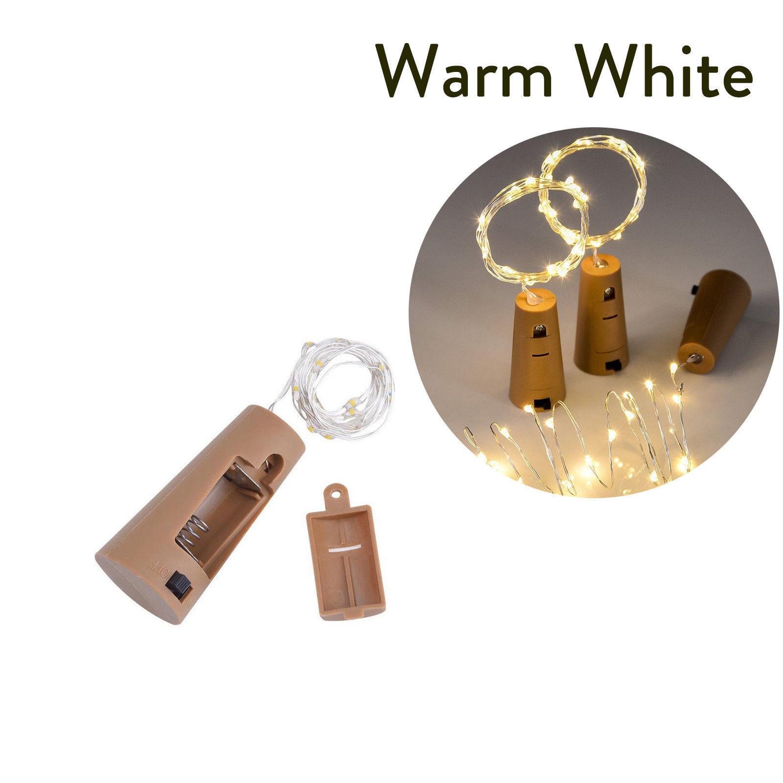 10 20 30 светодиодный s пробковый светодиодный светильник, медная проволока, праздничный уличный Сказочный светильник s для рождественской вечеринки, свадебного украшения - Испускаемый цвет: Тёплый белый