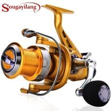 Sougayilang Рыболовная катушка для карпа, металлическая катушка с ЧПУ, двойной тормоз, спиннинговая Рыболовная катушка, колесо для Пресноводной и морской рыбалки для путешествий