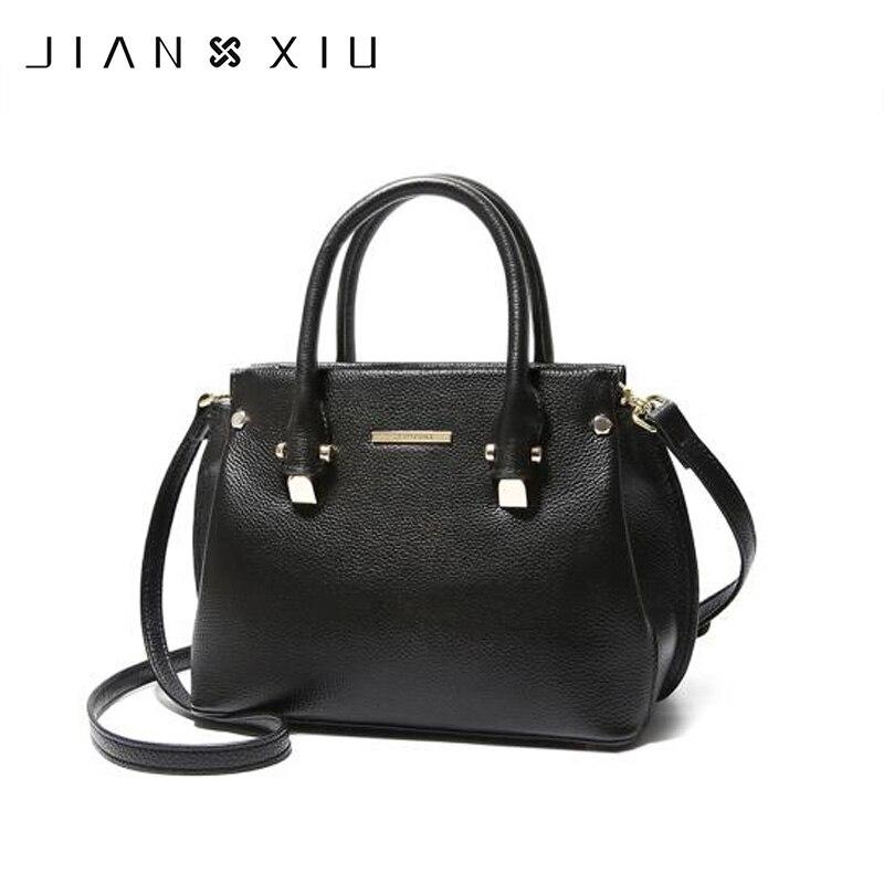 JIANXIU marque en cuir véritable sac femmes Messenger sacs femme sacs à main litchi Texture peau de vache épaule sac à bandoulière 2018 fourre-tout