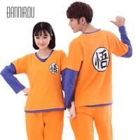 Dragon Ball Full Couple Pajama Set Cartoon Cosplay Chinese Character Home Clothing Cotton Lover Woman Man