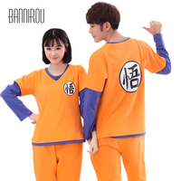 Dragon Ball Full Couple Pajama Set Cartoon Cosplay Chinese Character Home Clothing Cotton Lover Woman Man