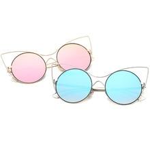 2017 New Fashion Sunglasses Women Brand Designer Cat Eye Sun Glasses Coating Mirror UV400 Glasses For Women Gafas Oculos De Sol