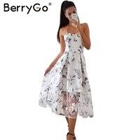 BerryGo Voltar lace up floral impressão vestido longo Mulheres sexy forro de organza vestido de verão 2017 Praia vestido maxi vestidos