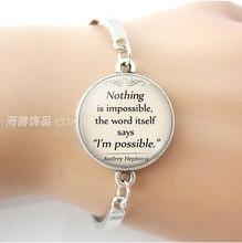 Nothing Is Impossible Audrey Hepburn Inspirational Quote Silver Metal Bracelet Glass Cabochon Jewelry Men Women Gift