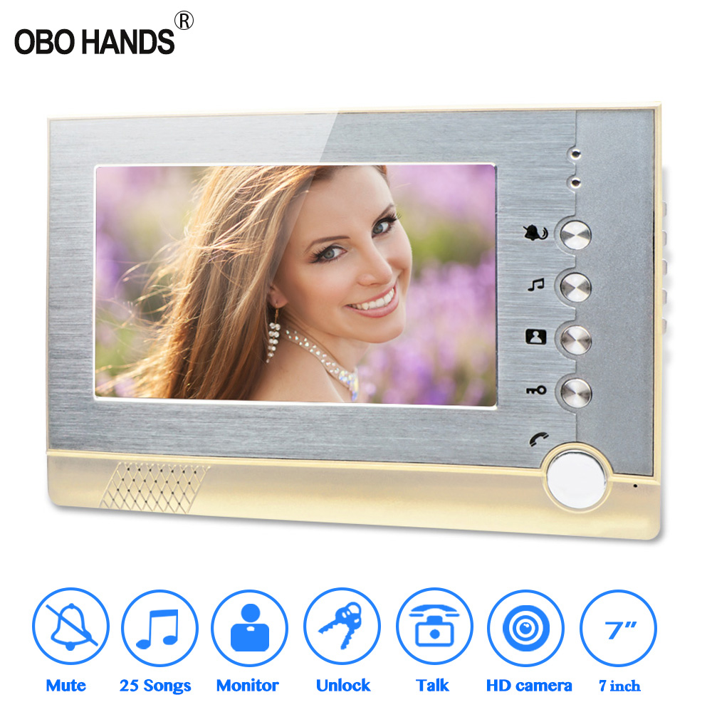 7inch colour TFT LCD Monitor Wired Video Doorbell Intercom Home indoor Unit Door Phone Memory Record