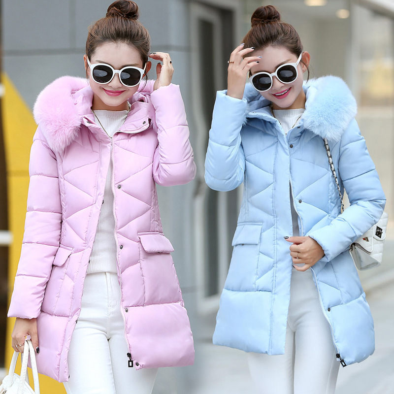 winter jacket women Casual Long warm down cotton-padded hooded parkas jacket coat Big pocket Outwear Coat female women s cotton padded long jacket winter leisure wild long cashmere wool liner coat casual pocket zipepr parkas mujer jy 805