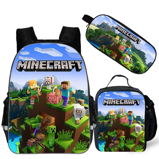 New Minecraft Herobri School Bag For Teenager Boys Girls Kids Personized Schoolbag 3pcs Sets Supplier Children Hot Game Backpack