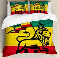 Rasta Duvet Cover Set Judah Lion with a Rastafari Flag King Jungle Reggae Theme Art Print, Black Green Yellow and Red